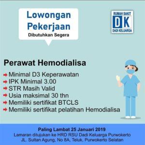 Lowongan Pekerjaan Perawat Hemodialisa